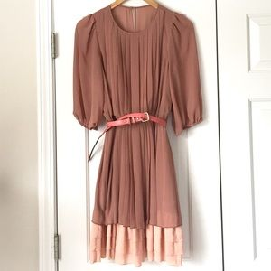 Jessica Simpson pleated ruffle belted dress